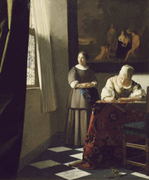 Woman writing a letter and maid of artist Jan Vermeer van Delft as framed image