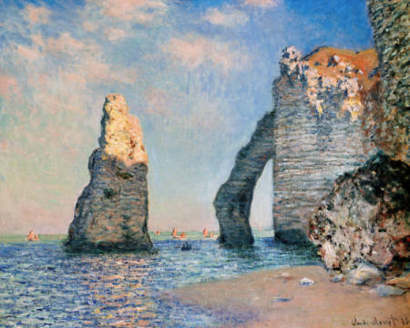 The needle and the rock face of Aval of artist Claude Monet as framed image