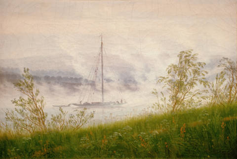Ship on the Elbe in the early morning fog of artist Caspar David Friedrich as framed image