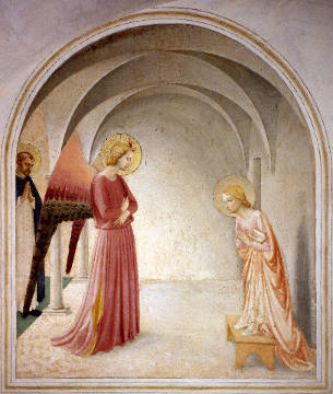 The Annunciation to Mary of artist Fra Angelico as framed image