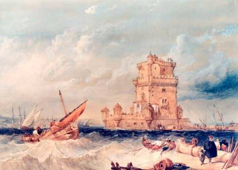 Kunstdruck: George Clarkson William Stanfield, Die Torre de Belem in Lissabon