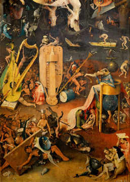 The Garden of Earthly Delights, right side wing of the triptych: Musicians' Hell of artist Hieronymus Bosch as framed image