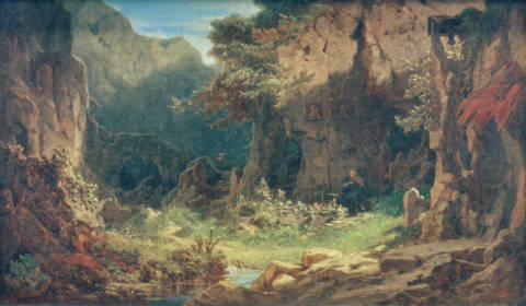 Hermit playing violin of artist Carl Spitzweg as framed image