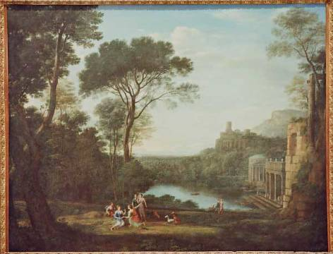 Landscape with Nymph Egeria of artist Claude Lorrain as framed image