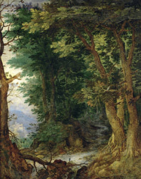 Fine Art Reproduction, individual art card: Jan Brueghel der Ältere, Woodland scenery