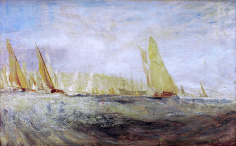 Sketch for 'East Cowes Castle: The Regatta beating to Windward von Künstler Joseph Mallord William Turner als gerahmtes Bild