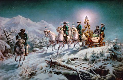 Nocturnal sleigh ride of King Louis II in the Ammer Mountains of artist AKG Anonymous as framed image