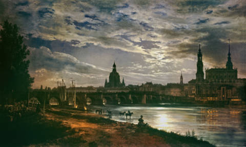 View of Dresden by the light of a full moon of artist Johann Christian  Clausen Dahl as framed image