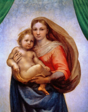 The Sistine Madonna / detail of artist Raphael as framed image