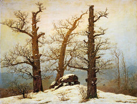 Megalithic grave in the snow of artist Caspar David Friedrich as framed image