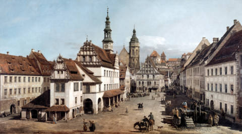The Market square in Pirna of artist Bernardo Bellotto as framed image