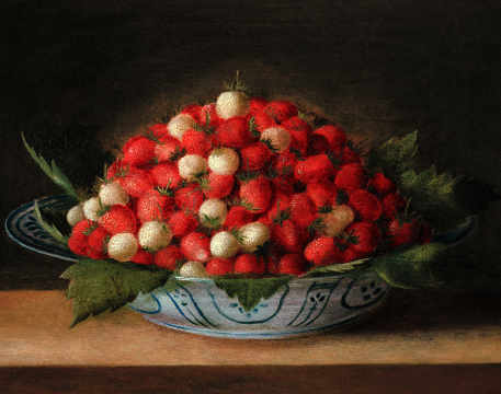 Bowl with Strawberries of artist Sebastian Stosskopf as framed image