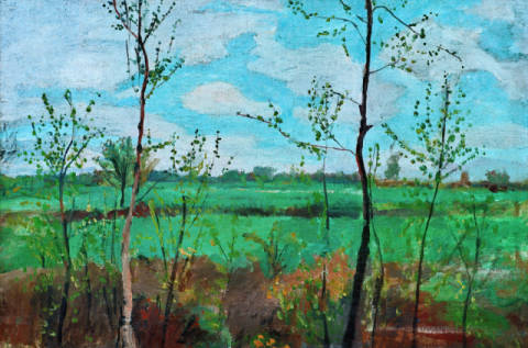 Spring Landscape of artist Paula Modersohn-Becker as framed image