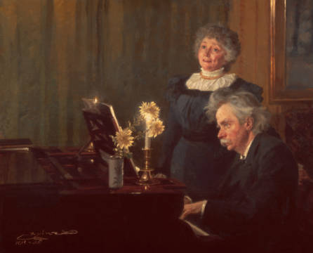 Edvad Grieg accompanies his wife at the piano of artist Peter Severin Kr�yer as framed image
