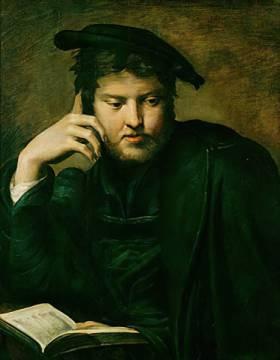 Parmigianino: Bildnis eines Mannes mit Buch. Kunstdruck