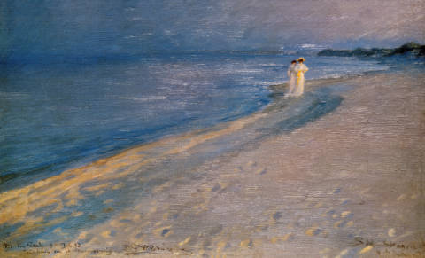 Summer evening at south beach o.Skagen, Anna Ancher and Marie Kr�yer of artist Peter Severin Kr�yer as framed image