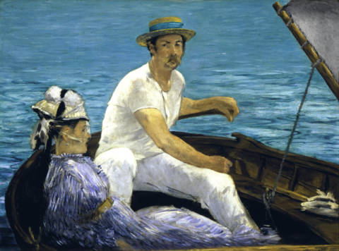 In the boat of artist Edouard Manet as framed image