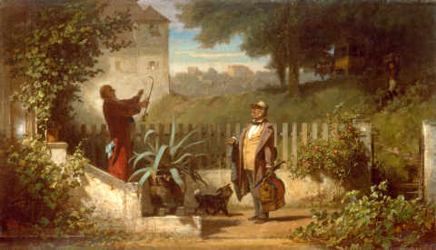 Fine Art Reproduction, individual art card: Carl Spitzweg, Visit to the Countryside