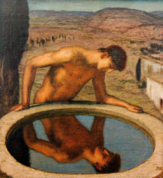 Fine Art Reproduction, individual art card: Franz von Stuck, Narcissus