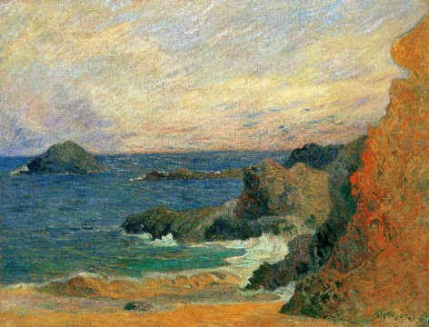 Rochers au bord de la mer of artist Paul Gauguin as framed image