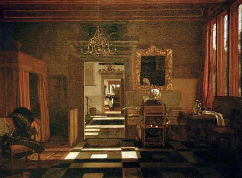 Emanuel de Witte - Interieur mit einer Dame am Virginal - digitaler ...