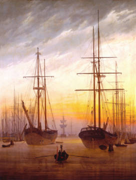 View of a harbour of artist Caspar David Friedrich as framed image