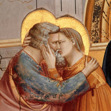 The meeting of Joachim and Anna at the Golden Gate of artist Giotto di Bondone as framed image