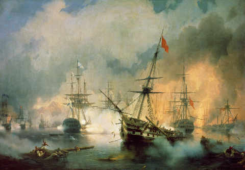 The Battle of Navarino of artist Iwan Konstantinowitsch Aiwasowski as framed image