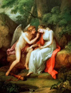 Fine Art Reproduction, individual art card: Angelika Kauffmann, Amor and Psyche