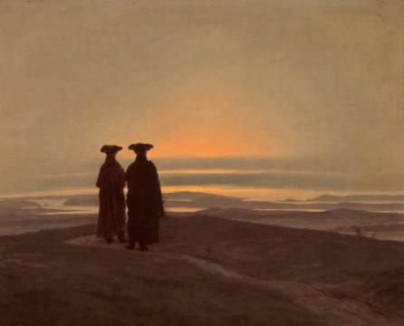 Friedrich: Abendlandschaft mit zwei Männern. Kunstdruck