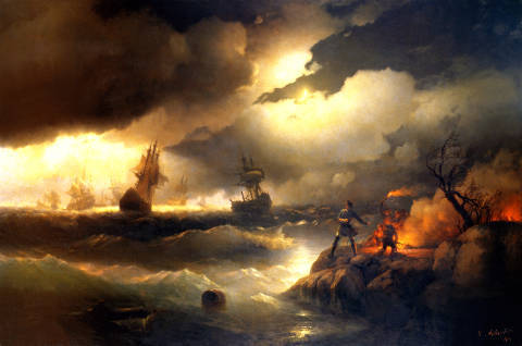 Peter the Great lights a fire at Krasnoy Gorka as a signal for his fleet in distress of artist Iwan Konstantinowitsch Aiwasowski as framed image
