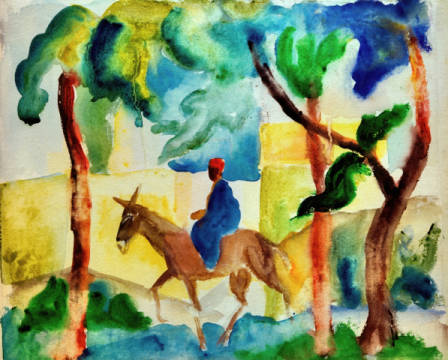 Fine Art Reproduction, individual art card: August Macke, Eselsreiter