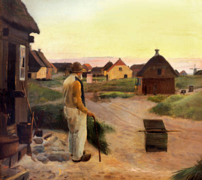 Der blinde Kristian vor seinem Haus of artist Michael Peter Ancher as framed image