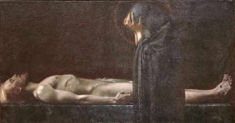 Pietà of artist Franz von Stuck as framed image
