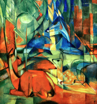 Deer in the forest II of artist Franz Marc as framed image