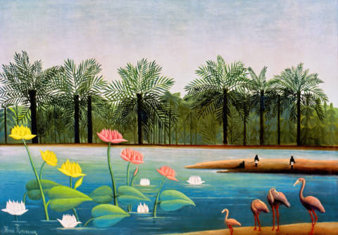 The Flamingoes of artist Henri J.F. Rousseau as framed image