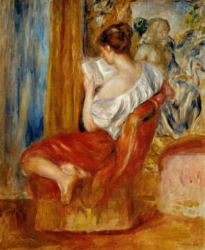 Woman reading c.1900 of artist Pierre Auguste Renoir as framed image