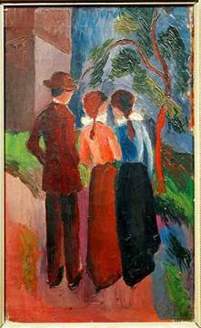 Promenade of three people,1914 Oil on ca of artist August Macke as framed image