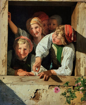 Children in a window,1853 Canvas Inv.335 of artist Ferdinand Georg Waldmüller as framed image