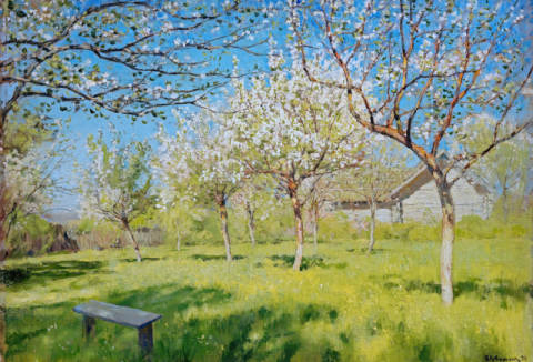 Fine Art Reproduction, individual art card: Isaak Iljitsch Lewitan, Apple Trees in Blossom