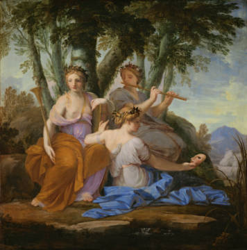 Fine Art Reproduction, individual art card: Eustache Le Sueur, Clio, Euterpe and Thalia