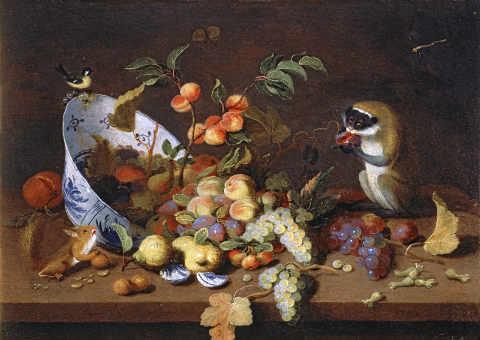hans essen stilleben mit früchten und tieren digitaler