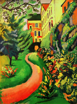 Fine Art Reproduction, individual art card: August Macke, Unser Garten mit blühenden Rabatten