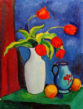 Fine Art Reproduction, individual art card: August Macke, Rote Tulpen in weißer Vase