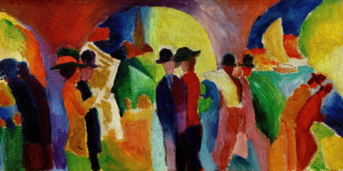 Fine Art Reproduction, individual art card: August Macke, Kolonnade mit Segelboot I