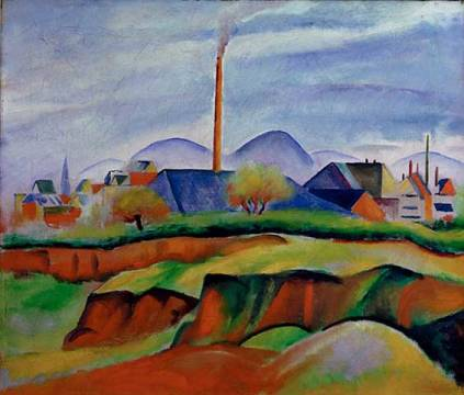 Landschaft mit Fabrik of artist August Macke as framed image