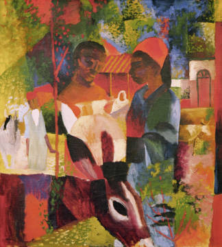 Fine Art Reproduction, individual art card: August Macke, Markt in Tunis