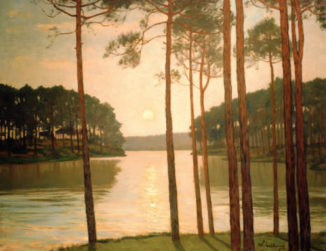 Evening at the Schlachtensee of artist Walter Leistikow as framed image