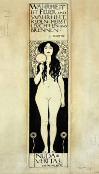 Fine Art Reproduction, individual art card: Gustav Klimt, Nuda Veritas