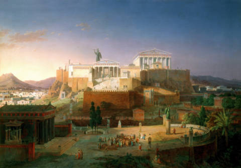 The Acropolis of Athens of artist Leo von Klenze as framed image